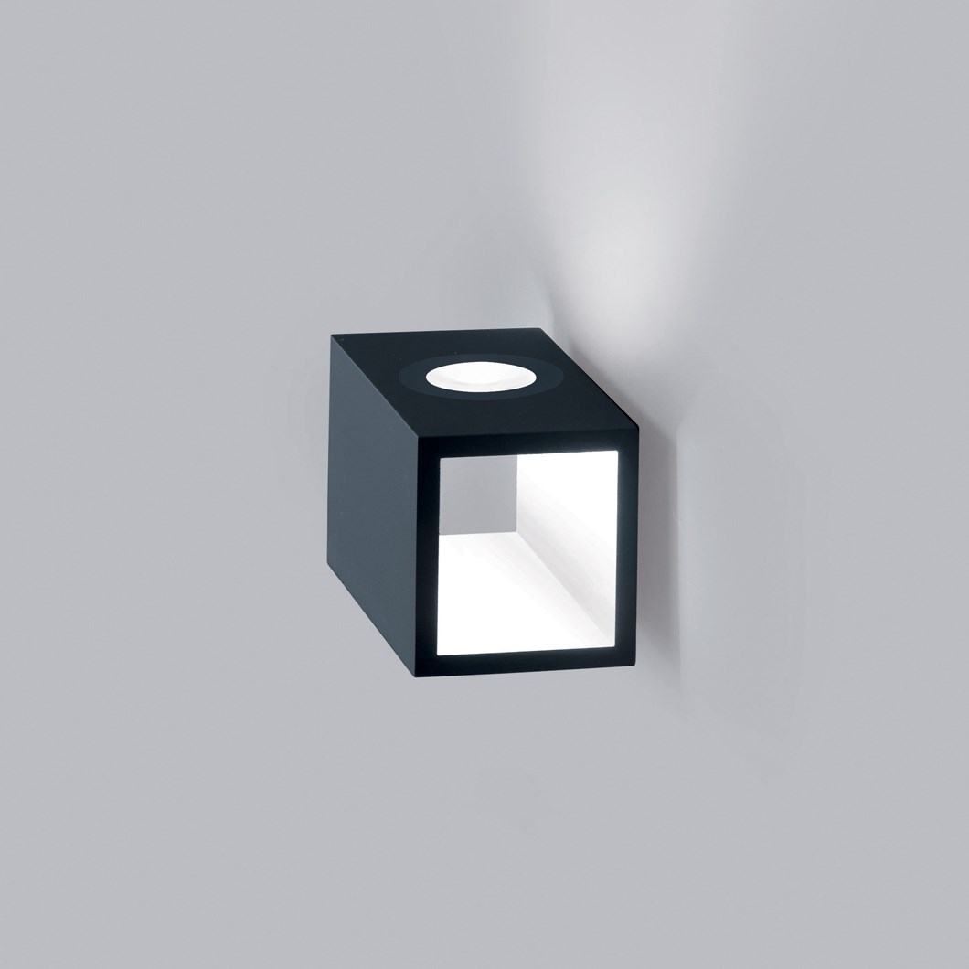 CLEARANCE Icone Cubo Titanium & White Wall Light| Image : 1