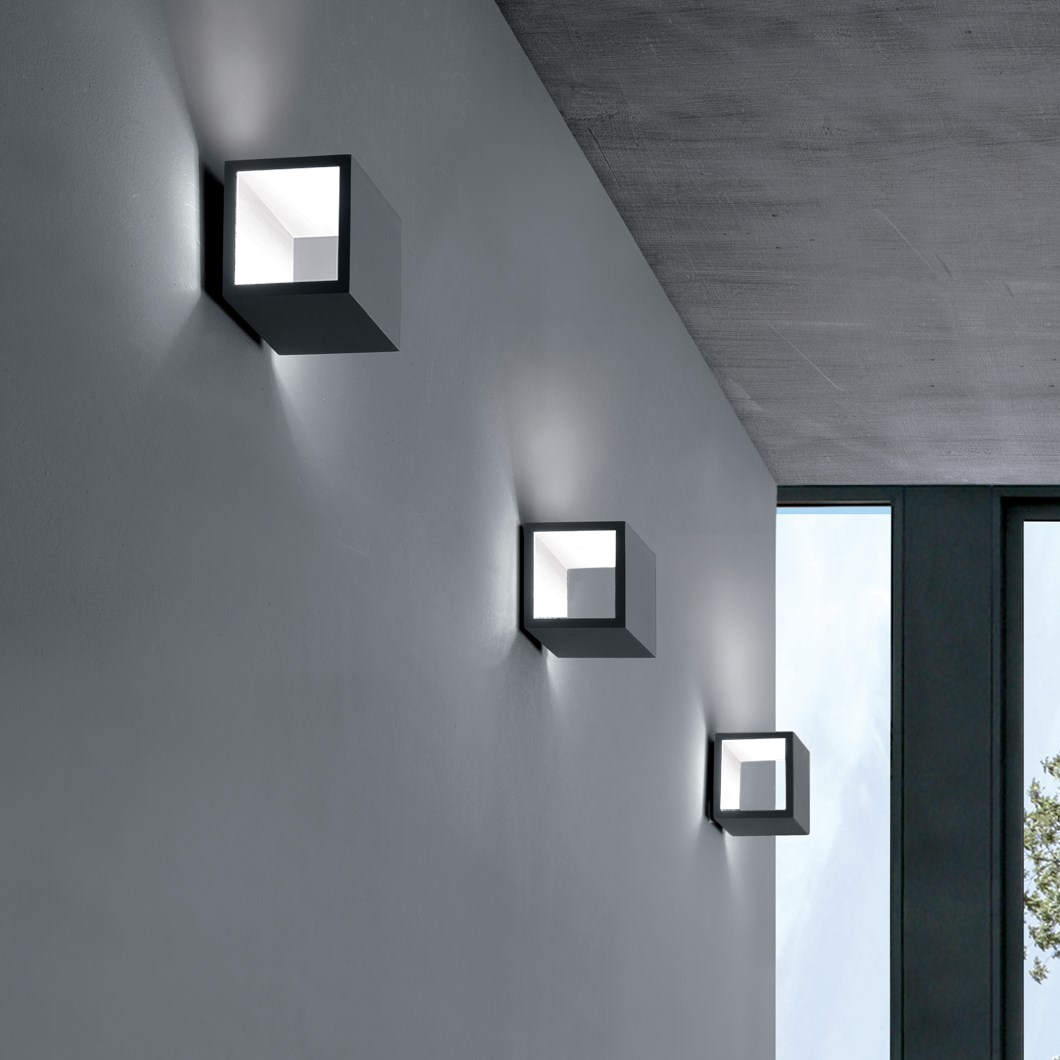CLEARANCE Icone Cubo Titanium & White Wall Light| Image:1
