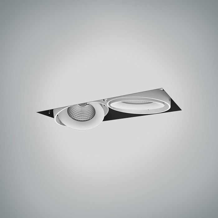 CLEARANCE DLD Fuji Double LED Adjustable Plaster In Downlight: White Bezel, 2700K, 40d Beam| Image : 1
