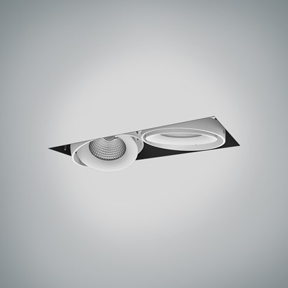 CLEARANCE DLD Fuji Double LED Adjustable Plaster In Downlight: White Bezel, 2700K, 40d Beam