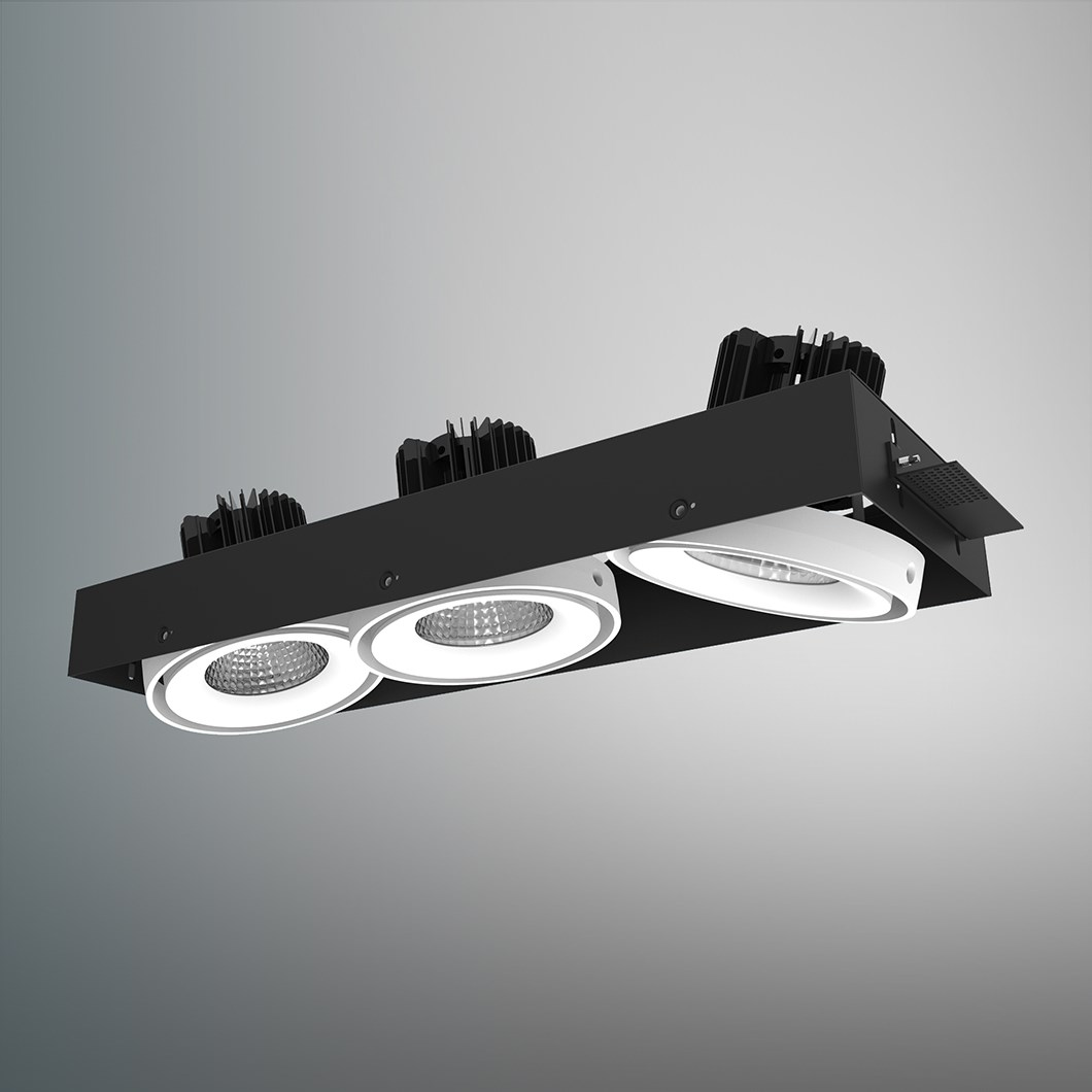 CLEARANCE DLD Fuji Triple LED Adjustable Plaster In Downlight: White Bezel, 2700K, 40d Beam| Image:1