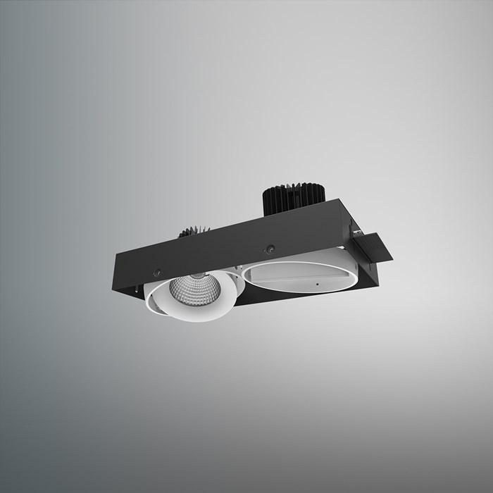 CLEARANCE DLD Fuji Double LED Adjustable Plaster In Downlight: White Bezel, 2700K, 40d Beam| Image:1