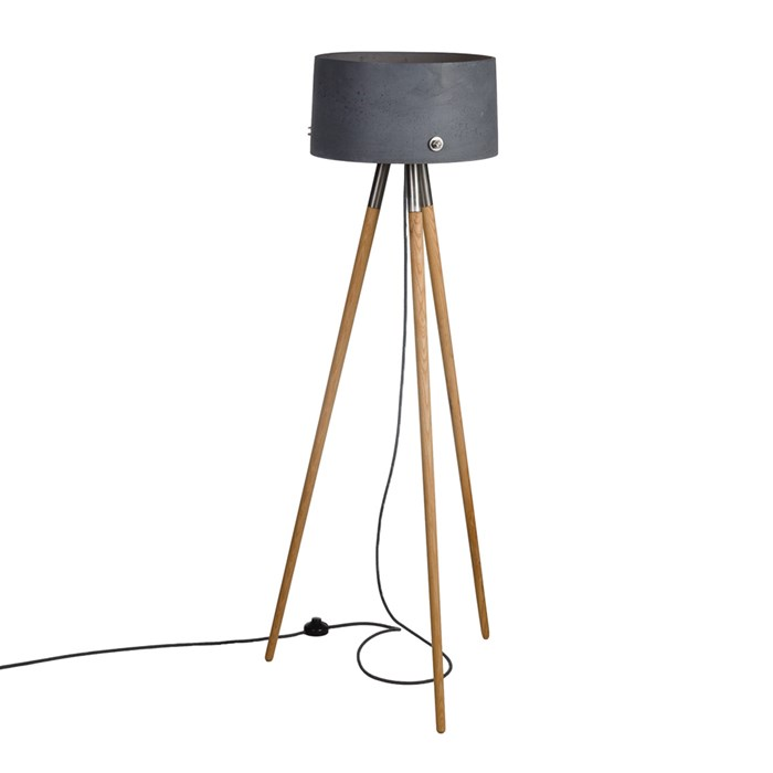 Darklight Design Rivet Concrete Round Floor Lamp| Image : 1