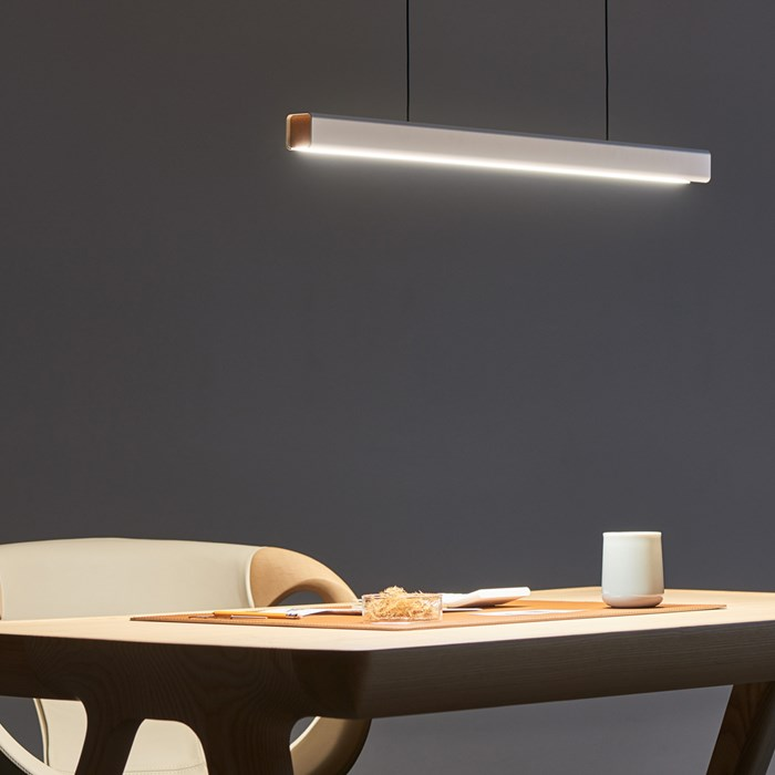 Seed Design Mumu P120 White & Beech LED Pendant - Next Day Delivery| Image:1