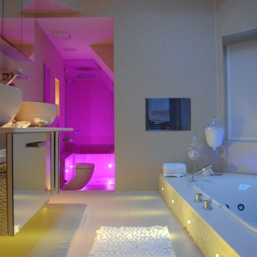 Colour changing RGB LED bathroom lighting