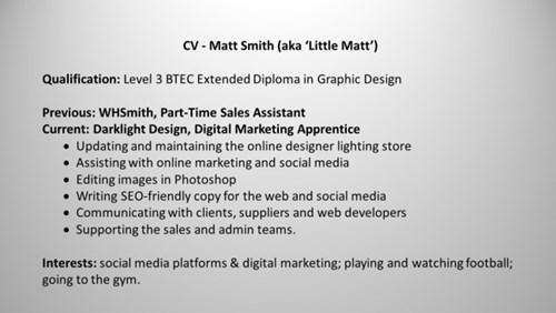 Matt's CV highlights