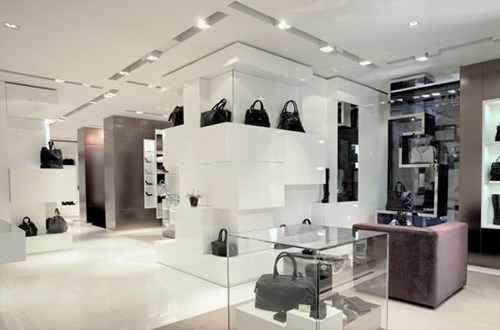 One of our stylish retail lighting design projects, using a cooler white LED light