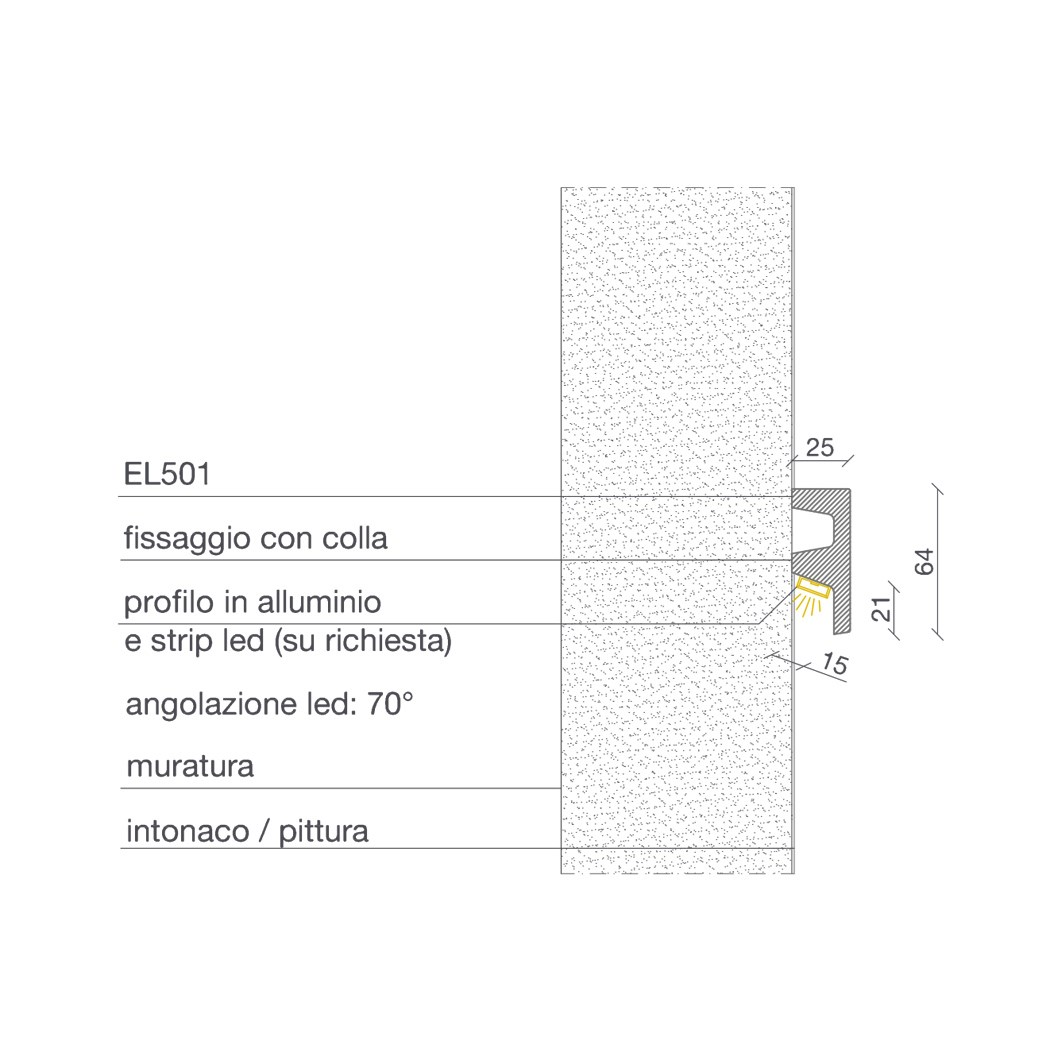 Dimensions diagram side elevation for Eleni EL501 linear profile cornice