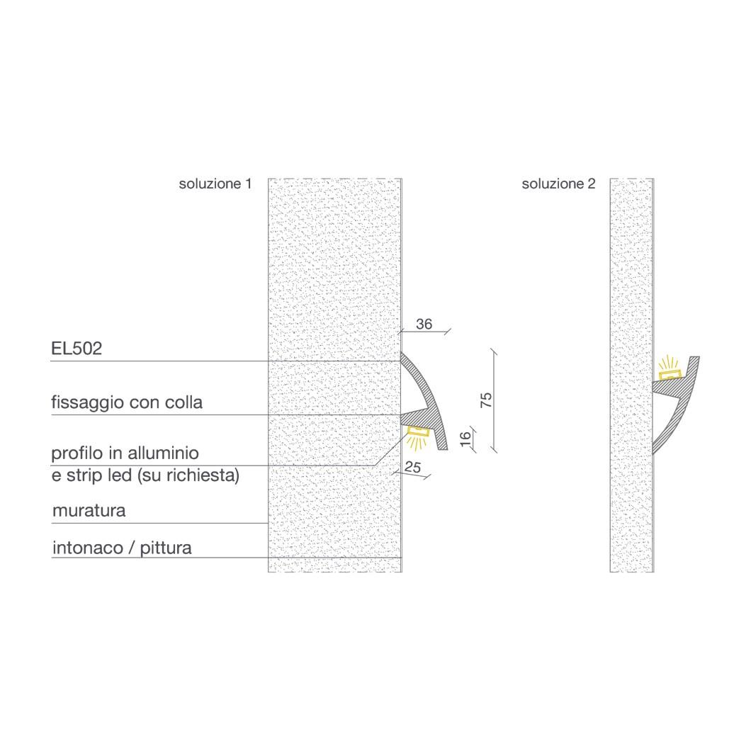 Eleni Lighting EL502 Curved LED Linear Profile Cornice | Darklight
