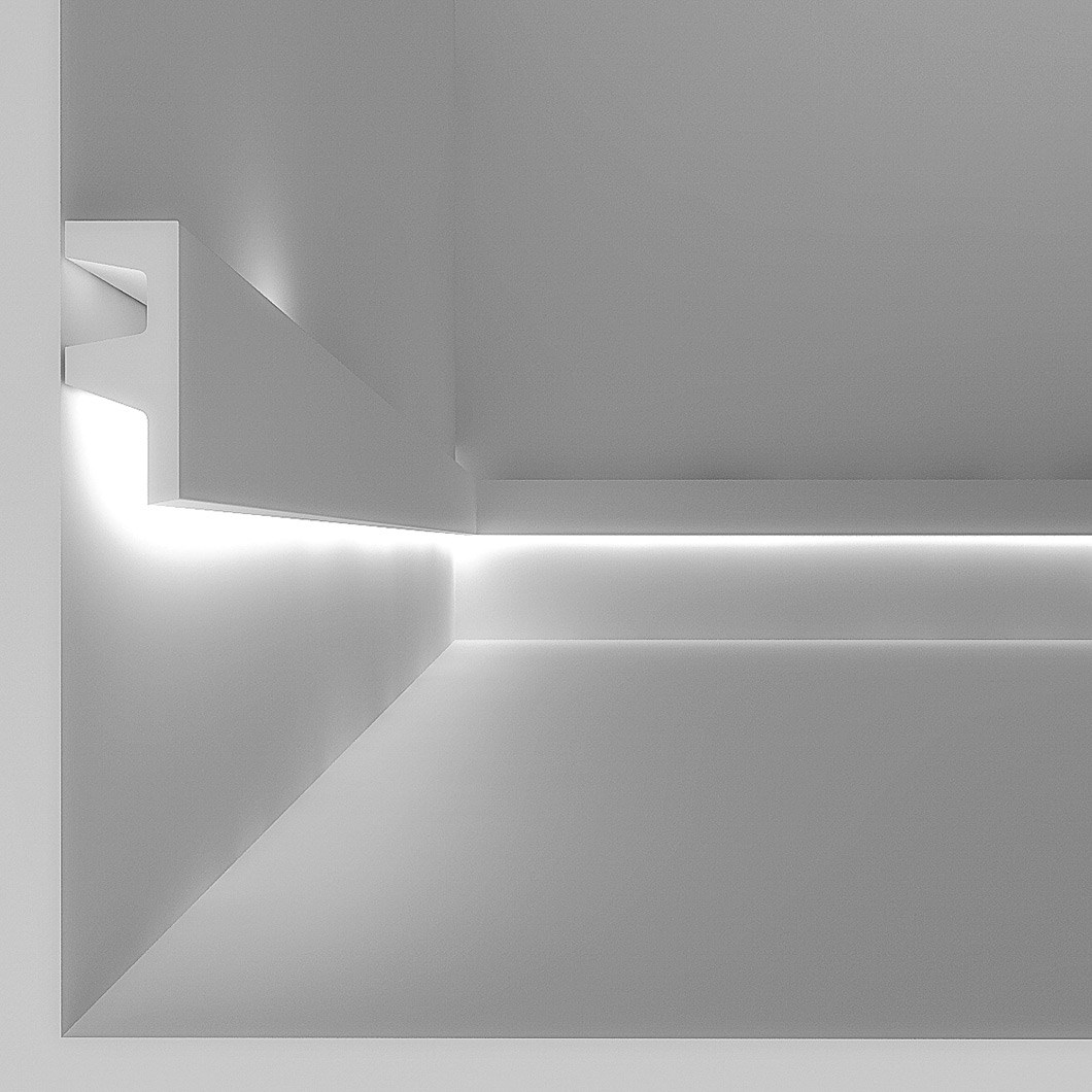 CGI cross section of Eleni EL501 linear profile cornice installed on the wall with the LED on