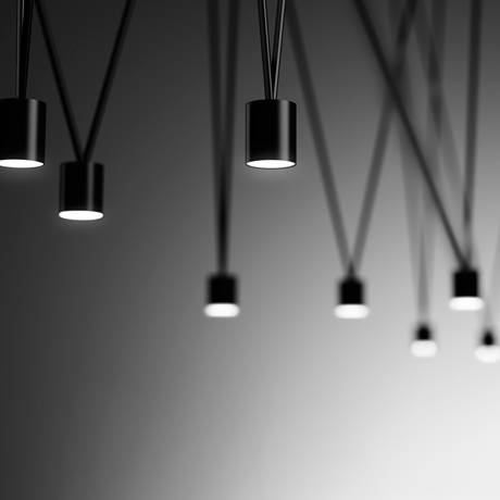 Close up of the minimal and contemporary Vibia Match modular pendant lighting system in black