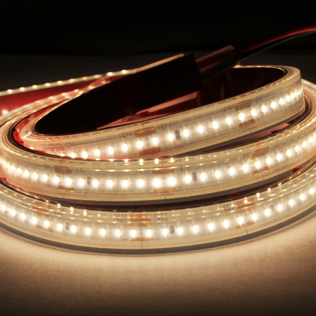 Roll of architectural LED tape strip with the LED chips turned on