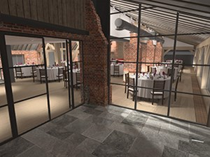 3D render of a lighting plan, showing the view from outside of the lighting effects in a restaurant dining space in a converted barn, by Darklight Design
