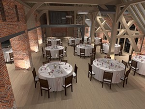 3D render of a lighting plan, showing the lighting effects in a restaurant dining space in a converted barn, by Darklight Design
