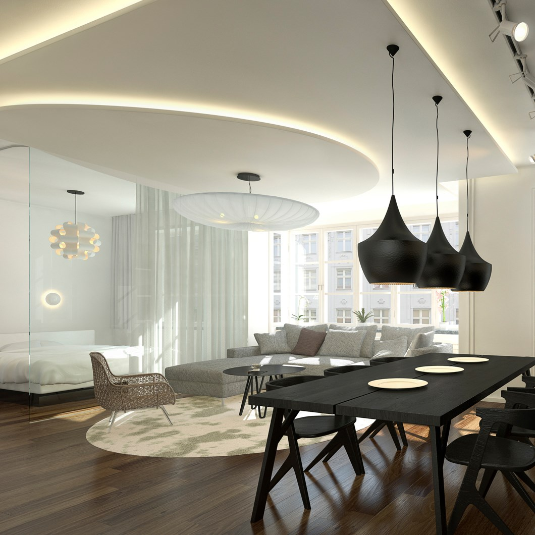LED Profilelement ADP Flex Drywall Profile Lighting in open plan living space