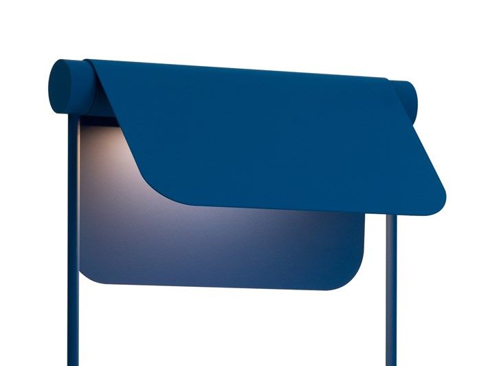 Blond Belysning Bend Floor Lamp in blue, close up of the adjustable shade tilted against white background