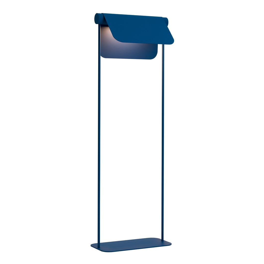 Blond Belysning Bend Floor Lamp in blue adjusted shade against white background