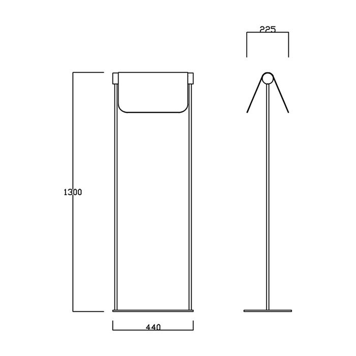 Drawing dimensions for Blond Belysning Bend Floor Lamp