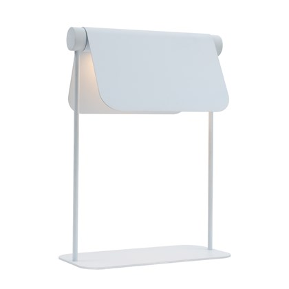 Blond Belysning Bend Table Lamp with adjustable shade facing down in white against a white background