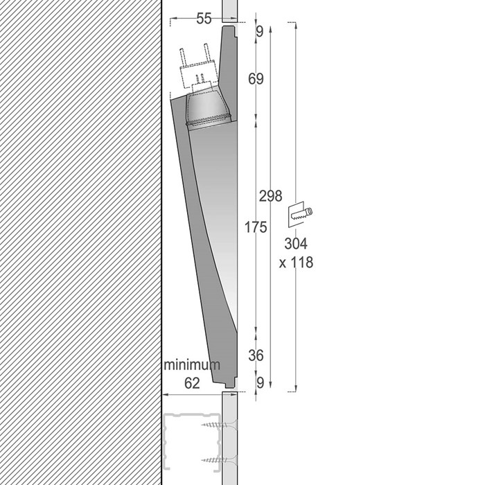 Side elevation and dimensions diagram of Nama Fos 15 Plaster In Wall Light