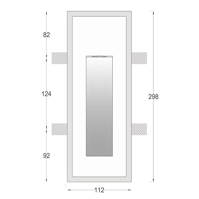 Front elevation and dimensions diagram of Nama Fos 15 Plaster In Wall Light
