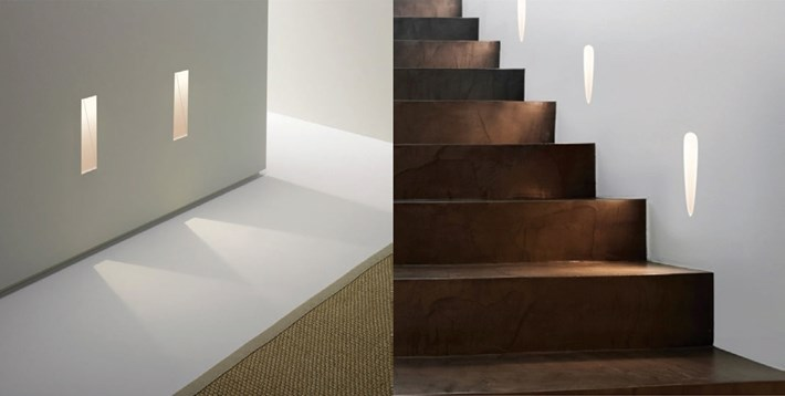 Nama Modular Fos14 and Fos15 Recessed Wall Lights plastered in and washing light on the floor and wooden stairs