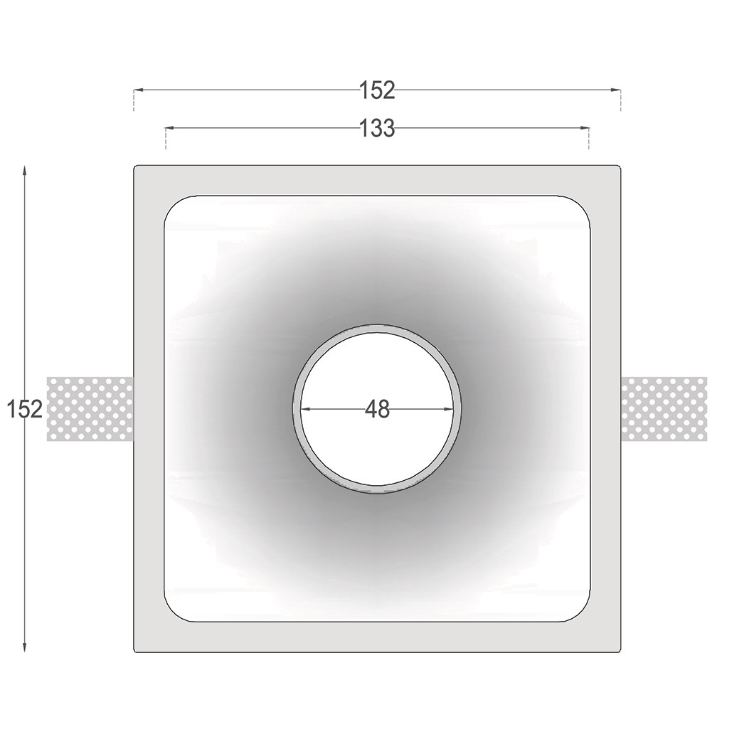 Dimensions drawing front elevation of Nama Fos 05 Round Plaster In Downlight