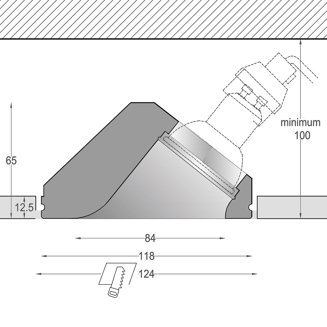 Cross section dimensions drawing of Nama Fos 11 Round Twin Plaster Wall Washer In Downlight