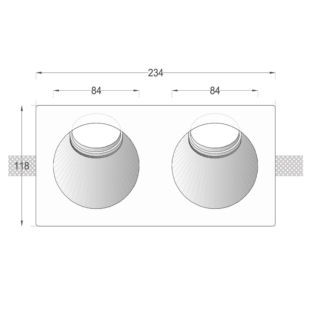 Dimensions drawing front elevation of Nama Fos 11 Round Twin Plaster In Wall Washer Downlight