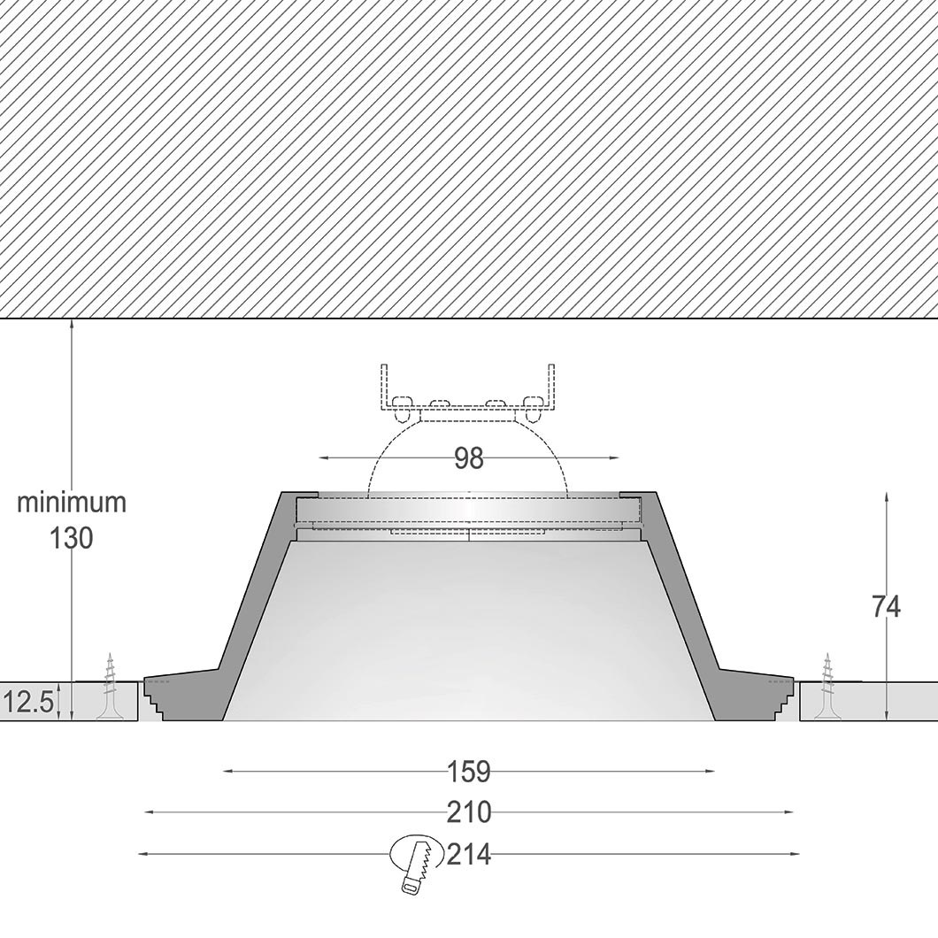 Cross section dimensions drawing of Nama Fos 17 Round Plaster In Downlight