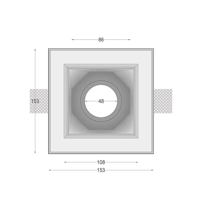 Dimensions drawing front elevation of Nama Fos 21 Square Plaster In Downlight