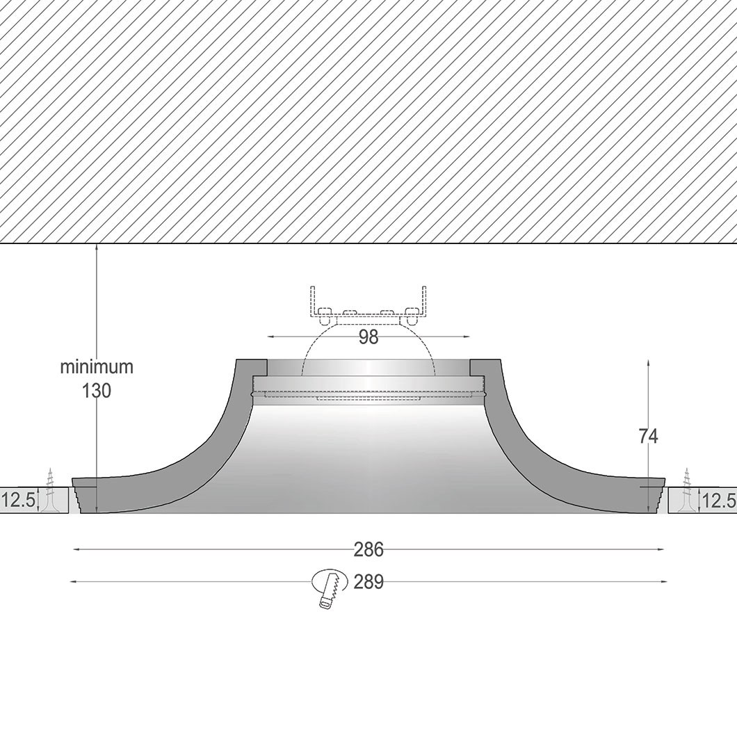 Cross section dimensions drawing of Nama Fos 22 Round Plaster In Downlight