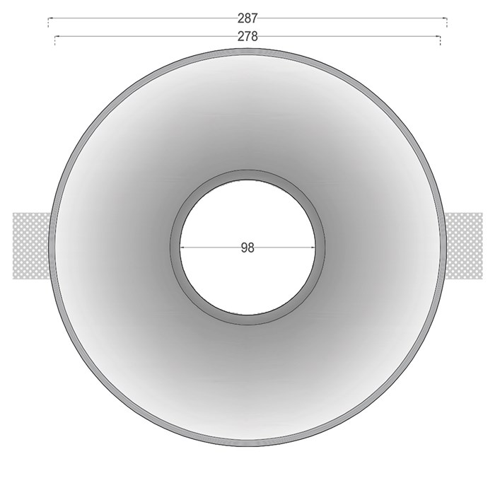 Dimensions drawing front elevation of Nama Fos 22 Round Plaster In Downlight