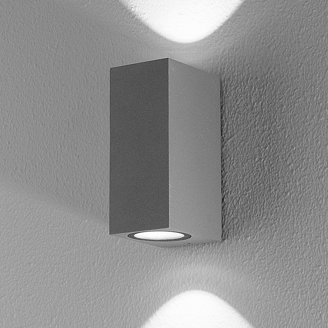 DLD Boxi Double Emission LED Outdoor IP54 Wall Light closeup in anthracite