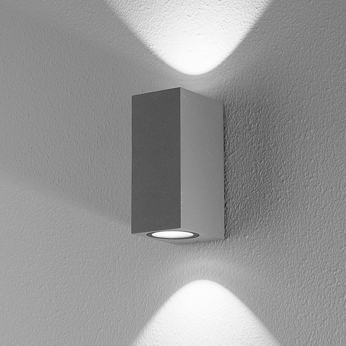 DLD Boxi Double Emission LED Outdoor IP54 Wall Light far shot in anthracite