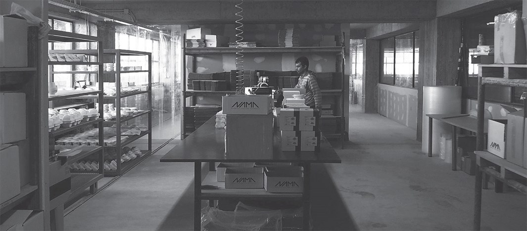 Nama factory assembly floor in Greece in black and white