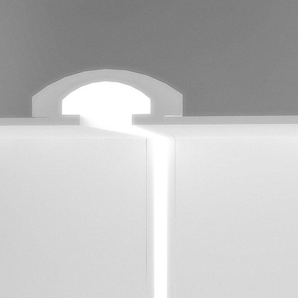 CGI cross section of Eleni EL112 recessed plaster in coving installed into the ceiling and wall with the LEDs on