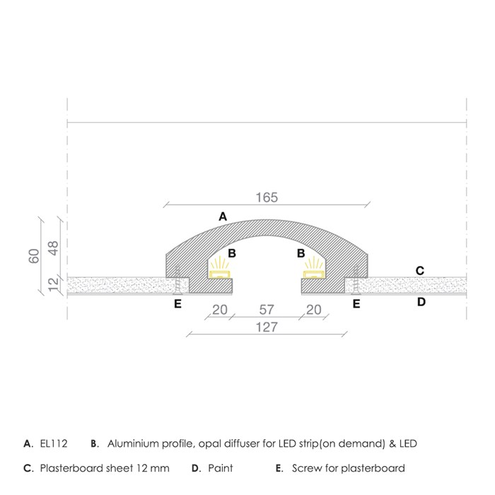Dimensions drawing of Eleni EL112 recessed plaster in coving with annotations