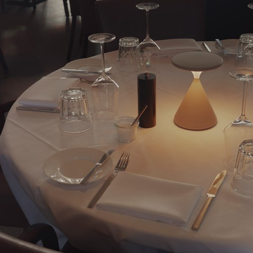 Tobias Grau Salt and Pepper Portable Table Lamp on a restaurant table