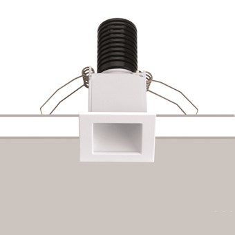 Baba Evo Square Downlight by Flexalighting in a white finish. Stock photo showing installation over a white and grey background.