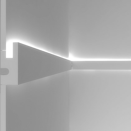 CGI cross section of Eleni EL301 linear profile cornice installed on the wall with the LED on
