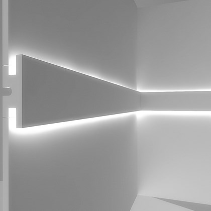 CGI cross section of Eleni EL302 linear profile cornice installed on the wall with up & down LEDs on