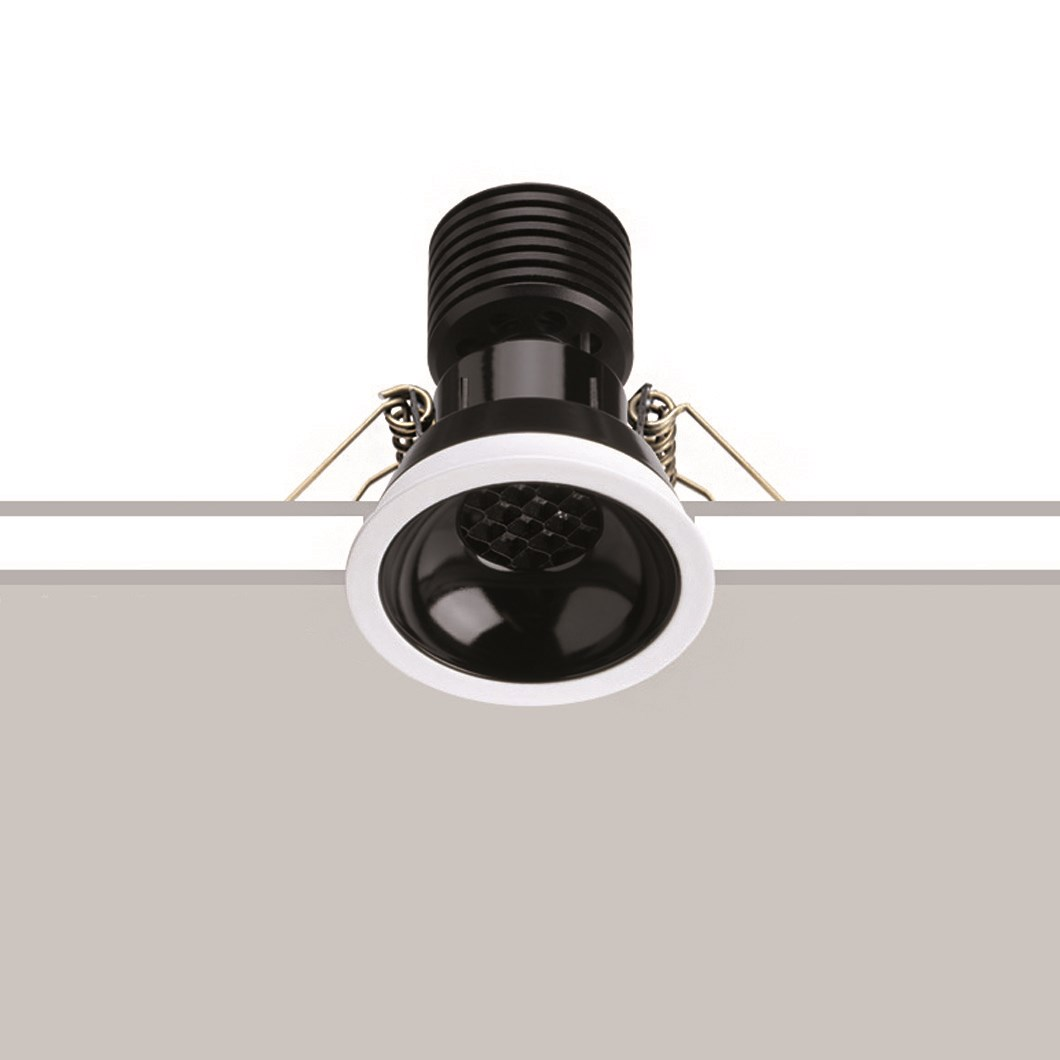 The Black 6 LED Recessed Downlight cut out image over a grey and white background