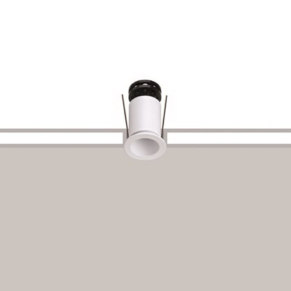 Flexalighting's Core 2 Recessed Downlight in white is shown with install lines over a white and grey background.
