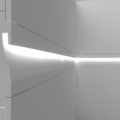 CGI cross section of Eleni EL406 linear profile cornice installed on the wall with down LEDs