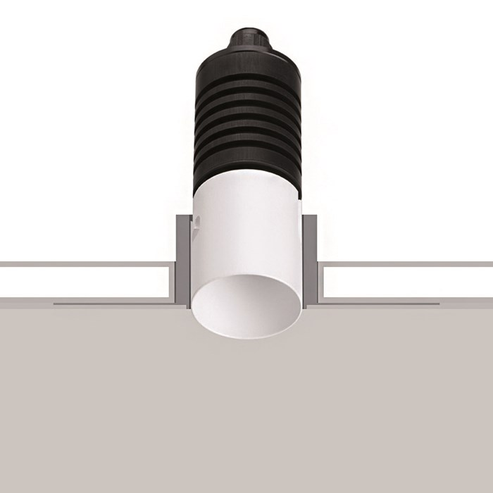 The Flexalighting Mae 2 LED IP67 Recessed Exterior Downlight in white, shown over a white and grey background.