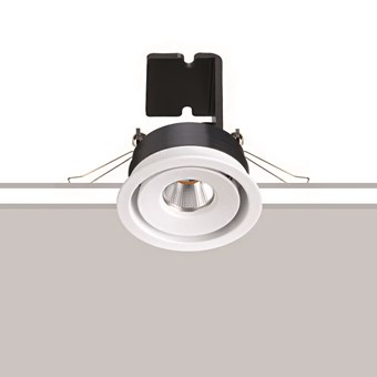 The Flexalighting Mine 6 white downlight, over a white and grey background.