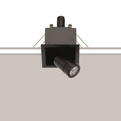 The Flexalighting Minileda Q10 downlight, recessing with spring fixing over a white and grey background.