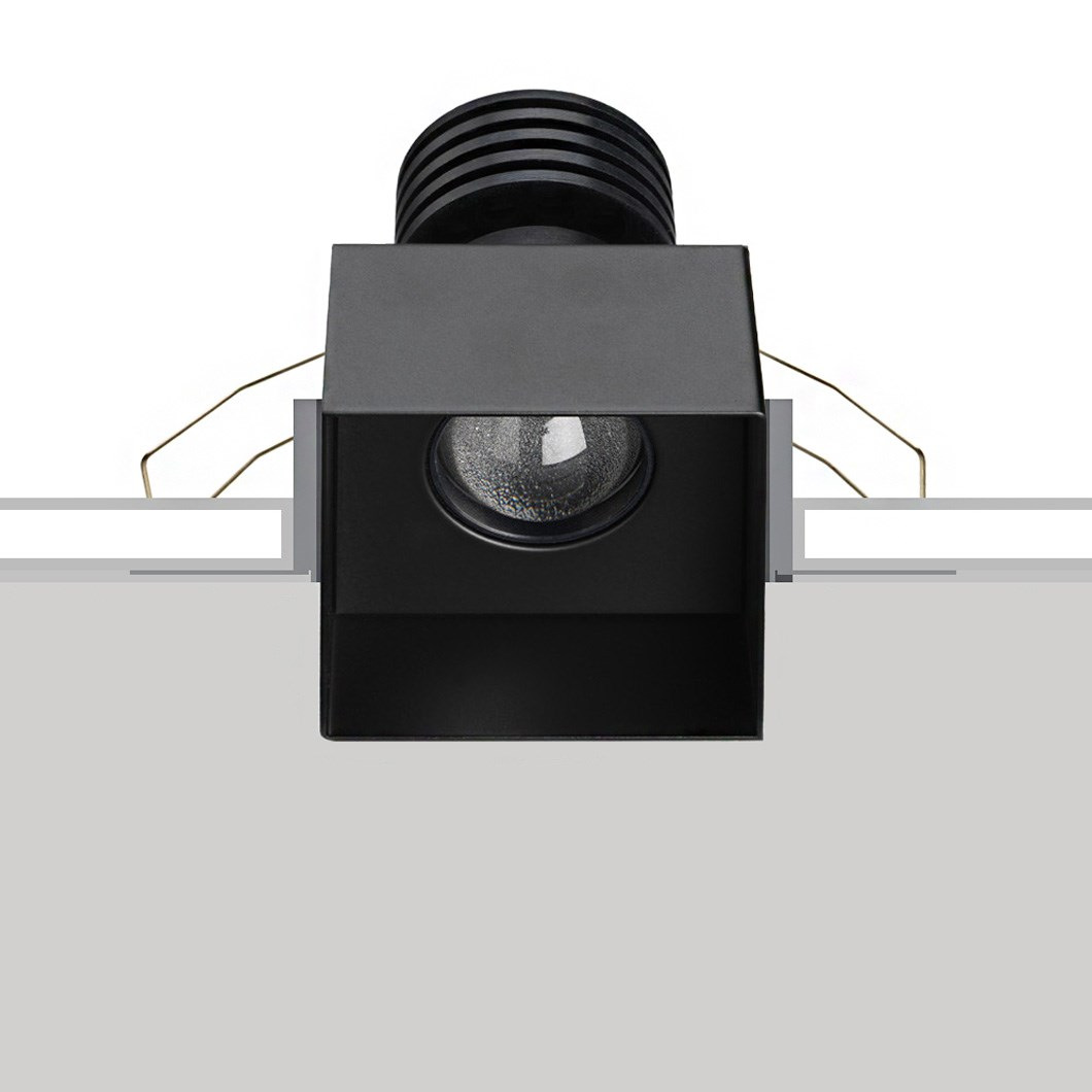 The Flexalighting None Q10 trimless downlight shown recessed over a white and grey background.