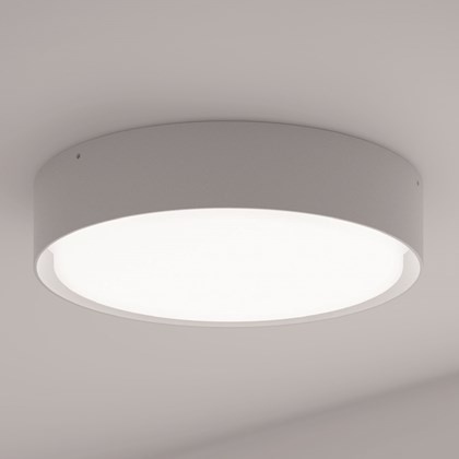 The DLD Curve LED Ceiling Light, in white, mounted on a white ceiling.